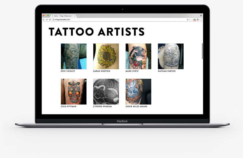 Trilogy Tattoos and Piercing website laptop mockup