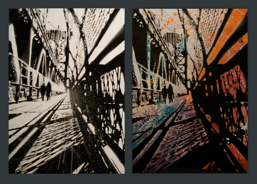 Bridges - Spray paint on canvas