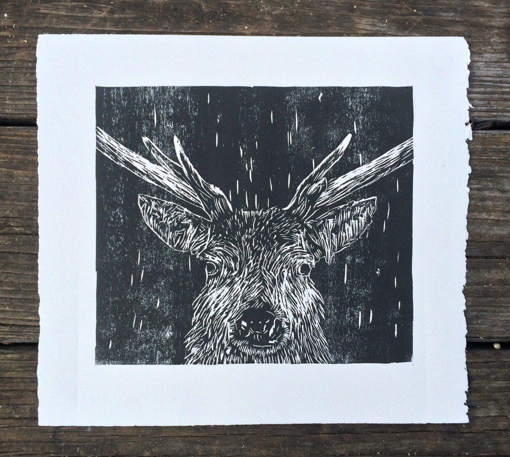 Stag woodcut - CW Studio